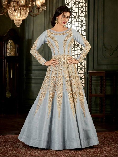 75e11dac97 Exotic grey partywear anarkali suit online which is crafted from malbury  silk fabric with exclusive zari, sequins and embroidery. This stunning  designer ...