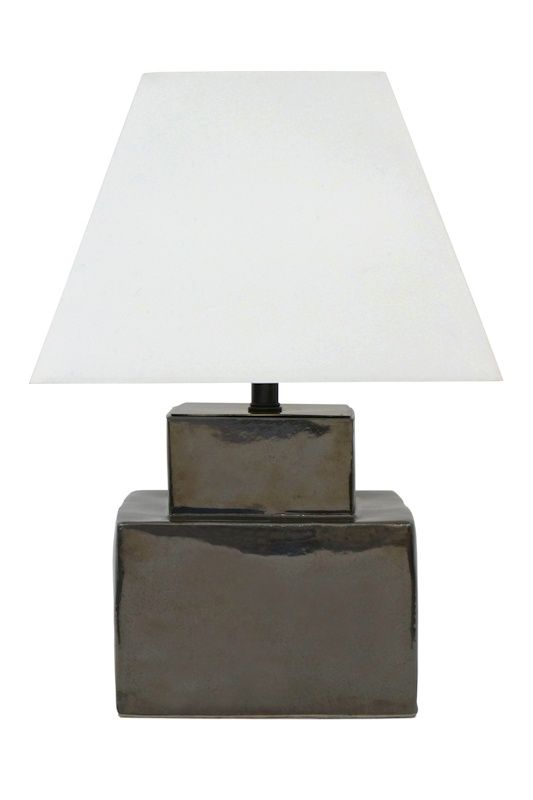 Modern gray glazed ceramic square table lamp by Mobach Holland Contemporary Elegant - Fresh mirrored table lamp Unique