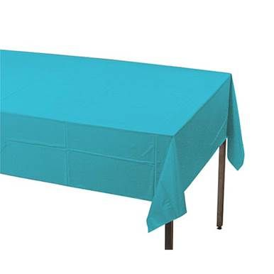 This pretty turquoise rectangle plastic table cover is a great way to dress up party tables.