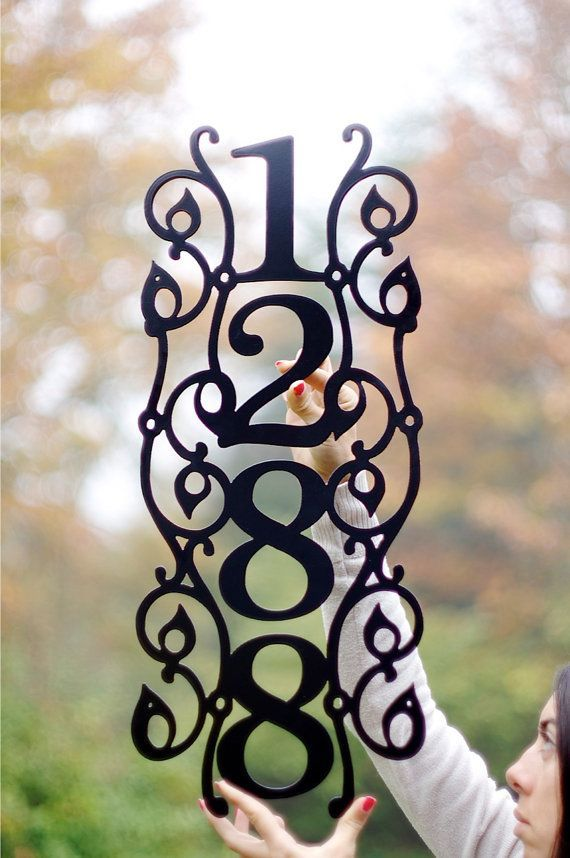 Vertical Vine Modern House Numbers. Address Sign