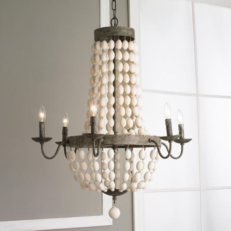 "White Wood Beads and Iron Basket Chandelier.  Gray bronze and white beads.  Great for a beach house.  Burlap or linen shades would look great as well.  30"" in diameter.  Shabby Chic.  This is a great alternative to the Currey and Company Chanteuse Petit - One Light Chandelier. Similar look at a much more affordable price."