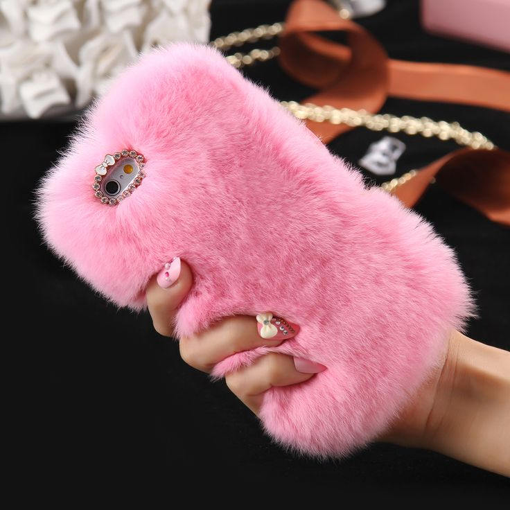 Pelo de conejo kisscase case para iphone 6 6s para iphone 6 plus 6s plus 5 5S sí cubierta del diamante de bling de piel cubierta para iphone 7 plus case