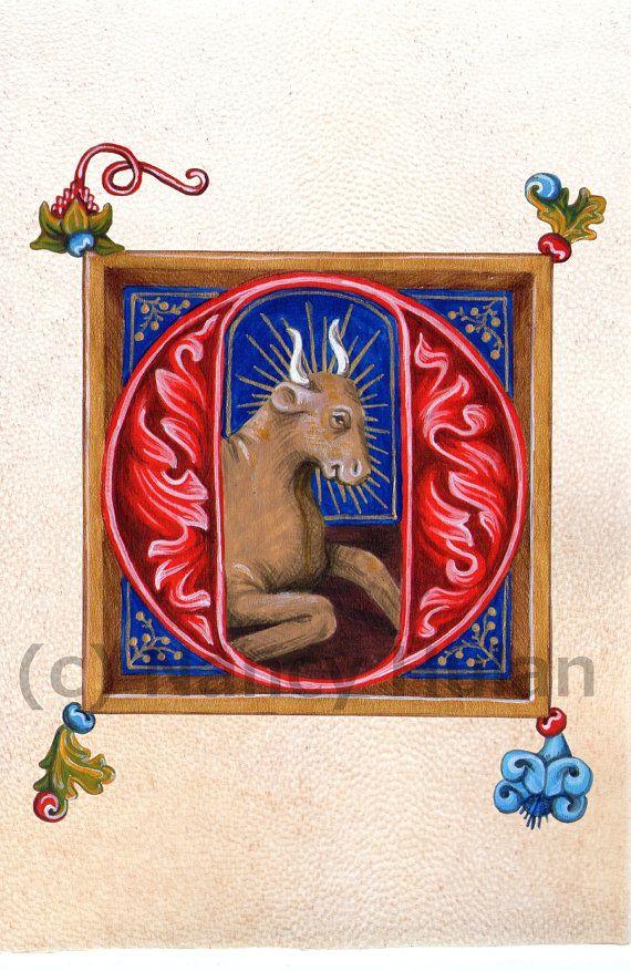 Verlichte Letter O, middeleeuwse beschilderde Letter O, geschilderd eerste O, middeleeuwse alfabet Letter, Childs naam