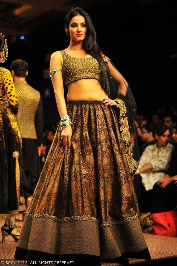 Black and gold lengha by  Shantanu Goenka at Lakme Fashion Week (LFW) Winter/Festive 2013 <3