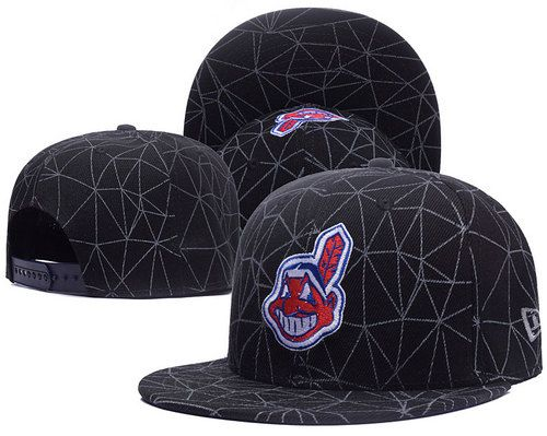 Cleveland Indians Line Cobweb Snapback Hats Black|only US$6.00 - follow me to pick up couopons.