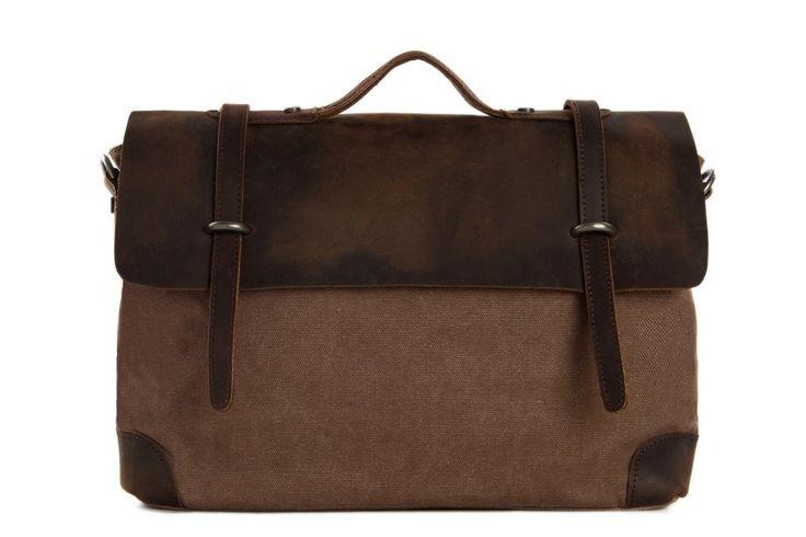 Image of Handmade Canvas Leather Briefcase Messenger Bag Shoulder Bag Laptop Bag 6896
