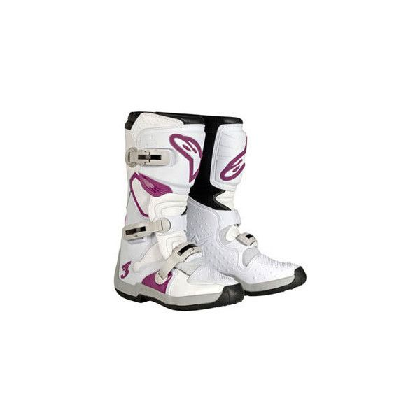 Alpinestars Tech 3 Stella Boots White/Purple Womens   Alpinestars... ($220) ❤ liked on Polyvore featuring motocross, shoes and sport
