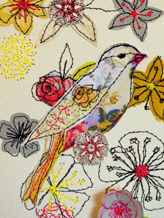 Blossom Blooms mixed media original artwork by AmandaWoodDesigns