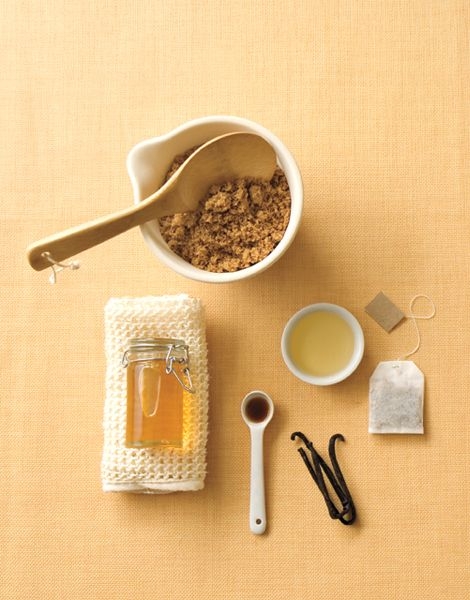 Scrub-A-Dub-Dub  Pre-Self-Tanning Scrub  2 C Dark brown sugar  1 C Honey  5 drops Vanilla  2 tsp. White tea  Combine all ingredients thoroughly.  Apply honey-vanilla-brown sugar scrub to body using vigorous, circular motions to exfoliate dead skin, concentrating on elbows, knees and ankles. Rinse thoroughly using a body wash, if needed, to remove residual scrub. Your favorite self-tanner or spray tan will absorb into the skin much easier, leaving your skin glowing and tan lasting longer.