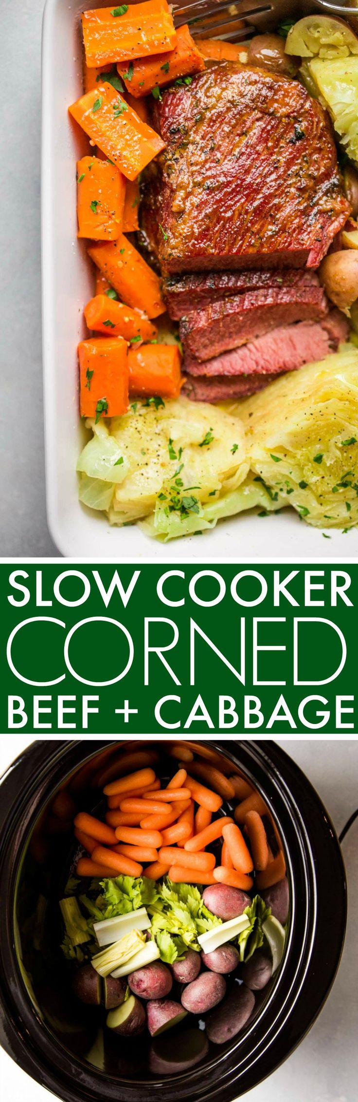 Slow Cooker Corned Beef & Cabbage is made in the crock pot and finished off under the broiler with a brown sugar-mustard glaze, giving it a nice crispy crust. #cornedbeef #slowcooker #crockpot #crockpotcornedbeef #slowcookercornedbeef #stpatricksdayrecipe #irishfood  via @platingspairing