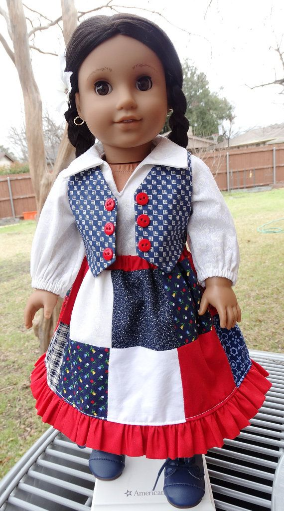 "18"" Doll Clothes Pretty Red, White, Blue Patchwork Skirt Set Fits American Girl Josefina, Grace,"