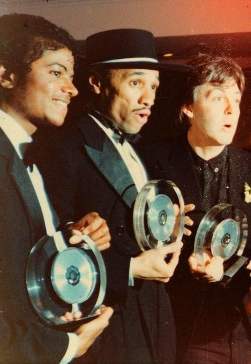 "♥ Michael Jackson ♥ with Quincy Jones & Paul McCartney - i'm sure for the song ""Say, Say, Say"""