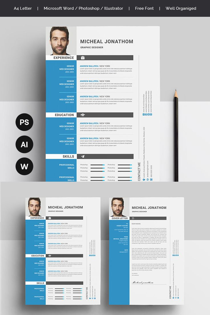 Blue and Grey Resume Template in 2020 (With images