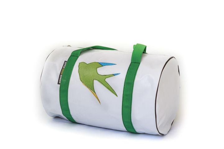 Weekender bag with bird applique