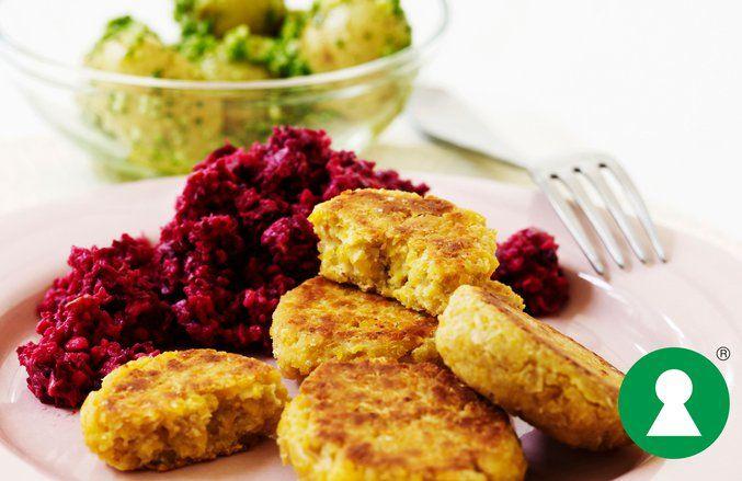 Kikærtefrikadeller med rødbederåkost #vegetarian