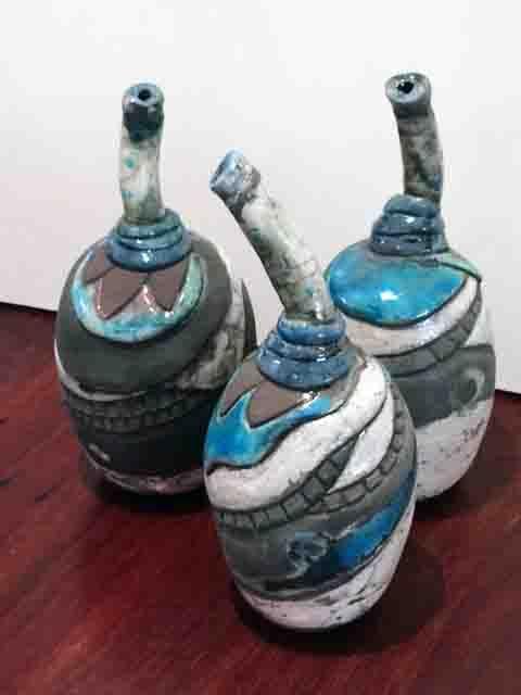 Yvonne Kitchener 3 Raku Boab vases  greywhite & Peacock blue stoneware hand carved.