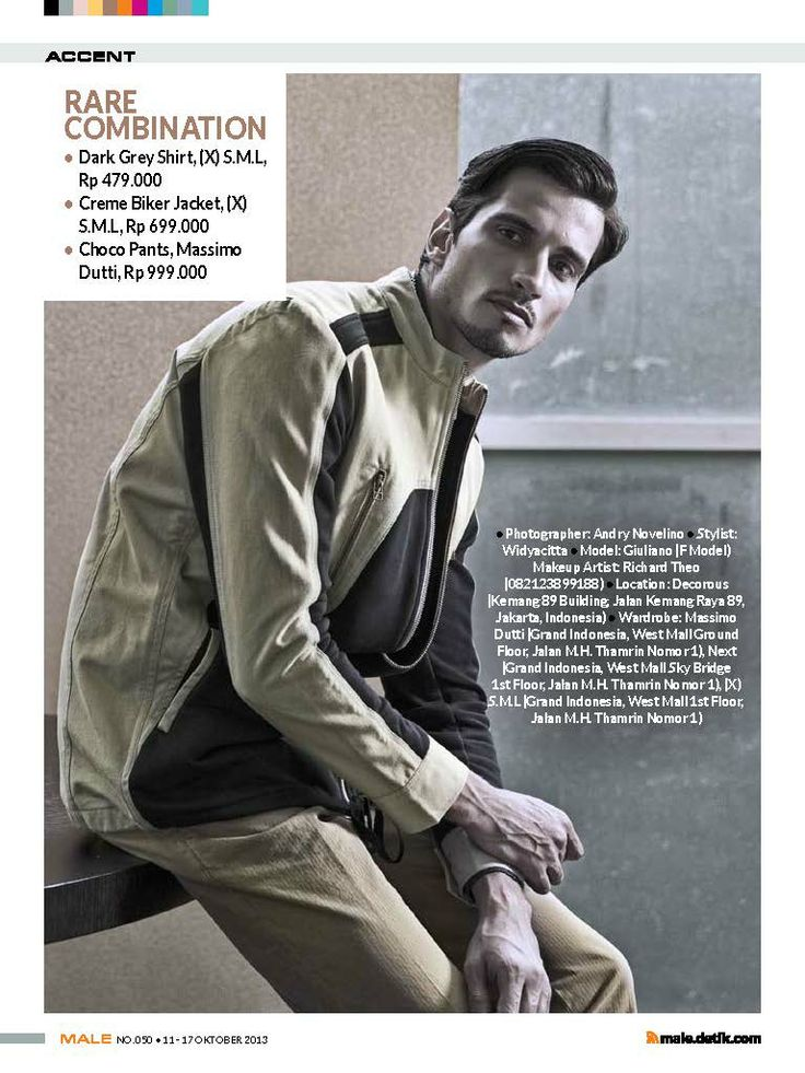 (X)S.M.L Dark Grey Shirt and Creme Biker Jacket are appeared on Male - September 2013