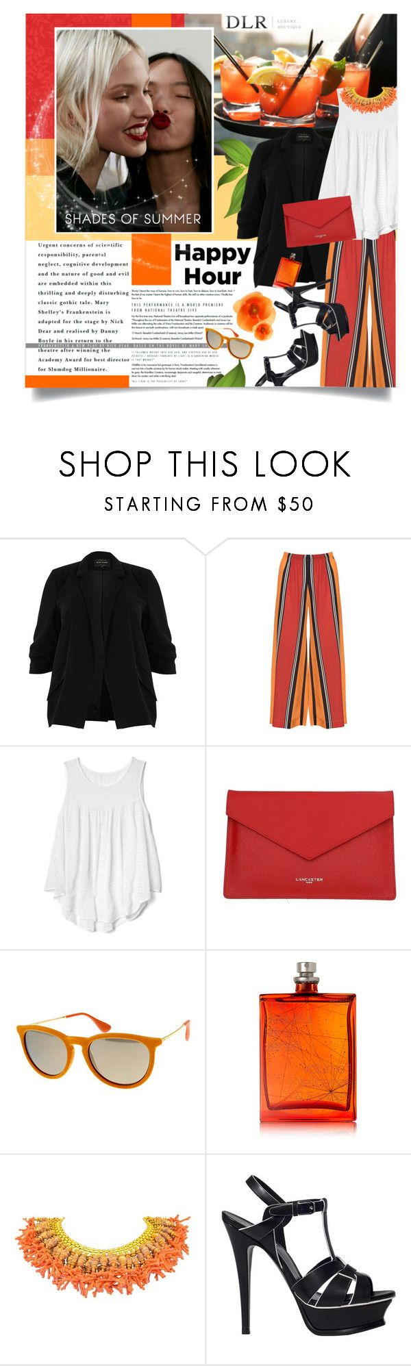 """SALES! DLRBOUTIQUE"" by palmanana ❤ liked on Polyvore featuring River Island, Mat, MaxMara, Gap, Lancaster, Ray-Ban, The Beautiful Mind Series, Yves Saint Laurent and happyhour"