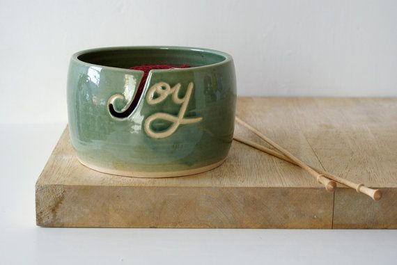 Made to order: Your name on a hand thrown pottery yarn bowl by LittleWrenPottery