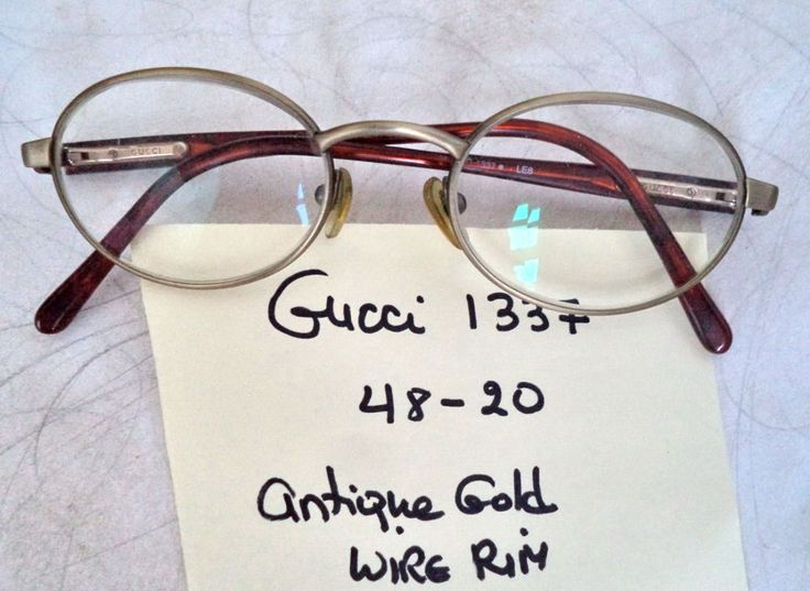 Gucci Eyeglasses 1337 antique gold oval wire rim 48-20 Italy vtg women glasses #Gucci