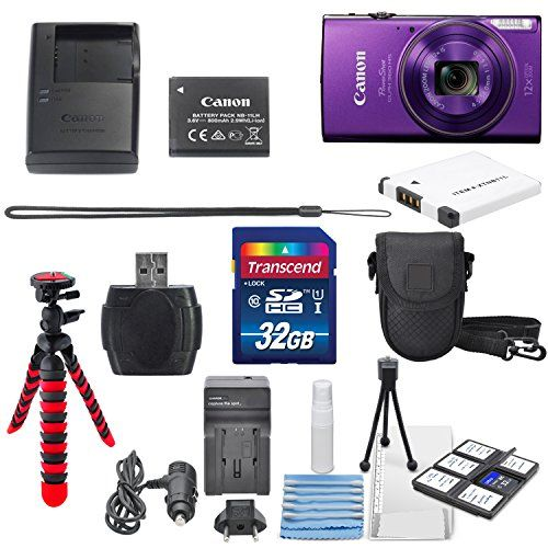 Canon PowerShot ELPH 360 HS (Purple)12x Optical Zoom - Built-In Wi-Fi with Deluxe Starter Kit Including 32GB SDHC Flexible Tripod  AC/DC Turbo Travel Charger  Extra battery  Protective Camera Case