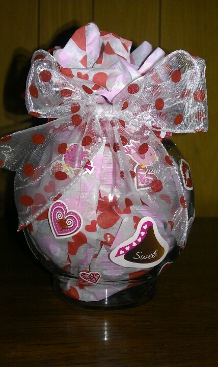Simple Homemade Valentines Gift Fish Bowl Tissue Paper