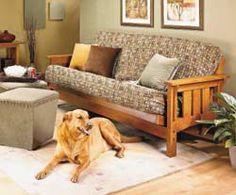 Free plans DIY futon frame. Craftsman style