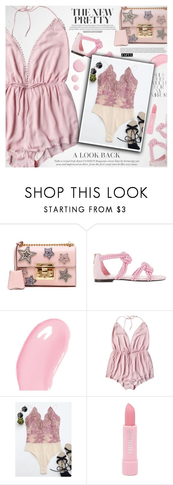 """""""Pale pink"""" by vanjazivadinovic ❤ liked on Polyvore featuring Gucci, Maison Ernest, Rika, Christian Dior, Forever 21, Topshop, polyvoreeditorial and zaful"""