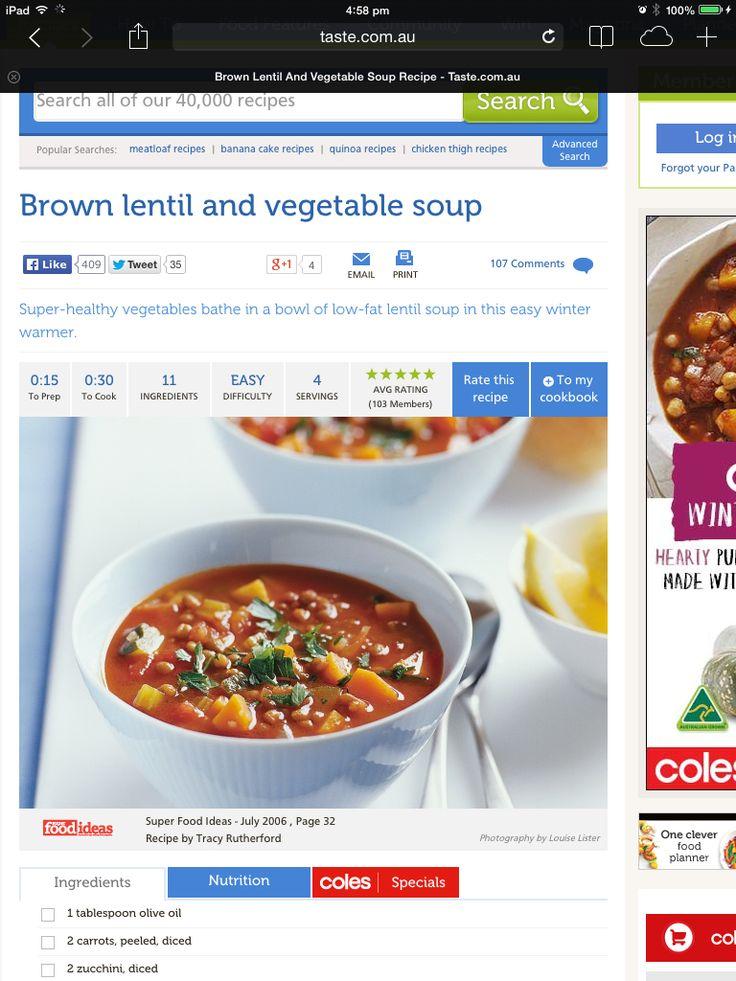 Brown lentil and veg soup