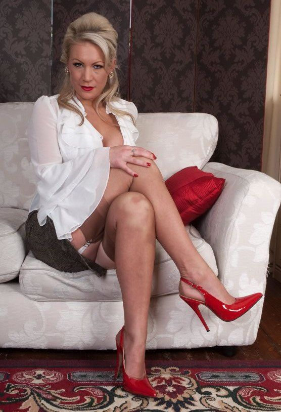 Blouse, Skirt  Red High Heels  Lovely Older Ladies -2885