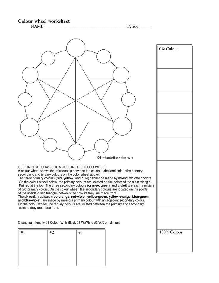 Color wheel worksheet ArT BaSiC Pinterest