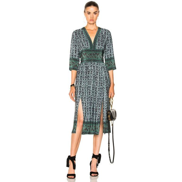 Sea 3/4 Sleeve Slit Midi Dress ($445) ❤ liked on Polyvore featuring dresses, front slit dress, button front dress, midi slit dress, green silk dress and green color dress