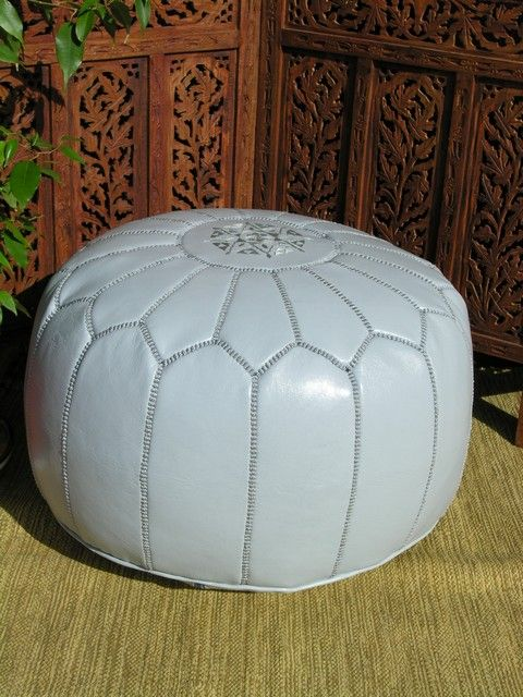 Moroccan leather pouffe in light blue. http://www.maroque.co.uk/showitem.aspx?id=ENT05871&s=10-30-069