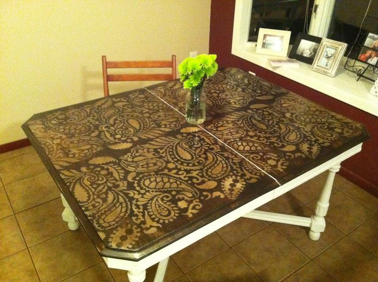 Stenciling Furniture Ideas: DIY Paisley Tabletop   Stenciling Ideas For  Home Decor