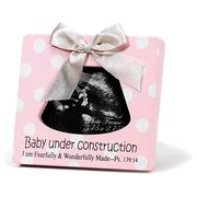 Baby Under Construction, Ultrasound Photo Frame, Pink
