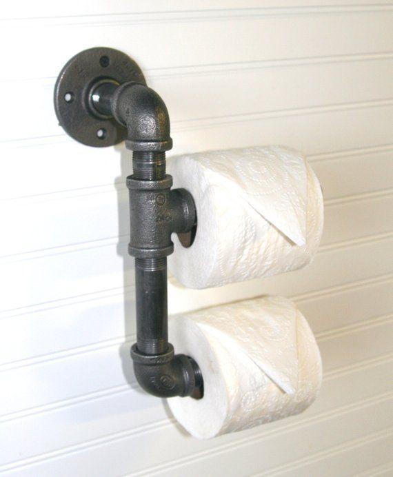 Industrial Pipe Toilet Paper Holder Wall Mount Bathroom Fixture