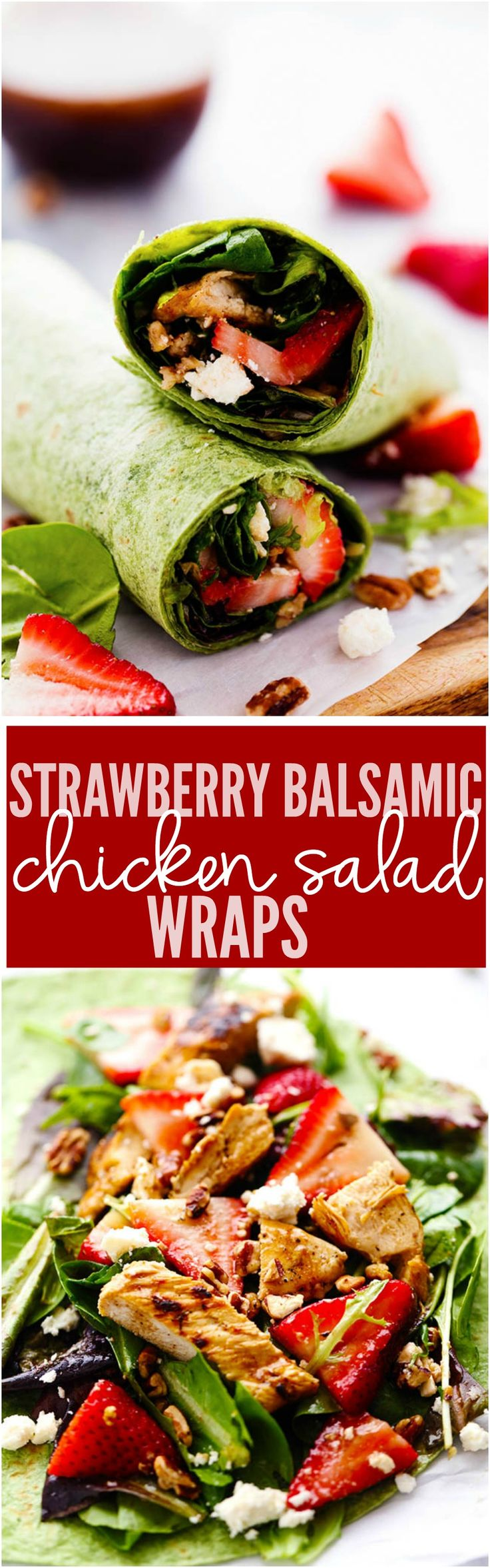 Fresh Spring greens, strawberries, crunchy pecans, chicken, and feta cheese come together in this delicious and healthy wrap. It is drizzled in balsamic dressing and the flavor is amazing!