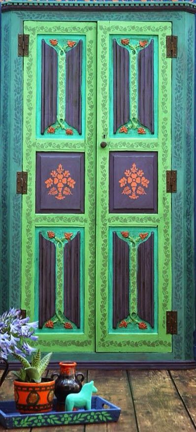 Janice Issitt Life Style Painters In Residence project. Bohemian door, stencilling and chalk paint ™