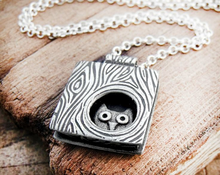 Owl necklace silver Whimsical owl in a tree by lulubugjewelry