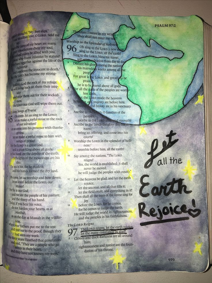 """My first bible art journal entry. Psalms 97:1 """"the Lord reigns, let the earth rejoice let the many coastlands be glad!"""""""