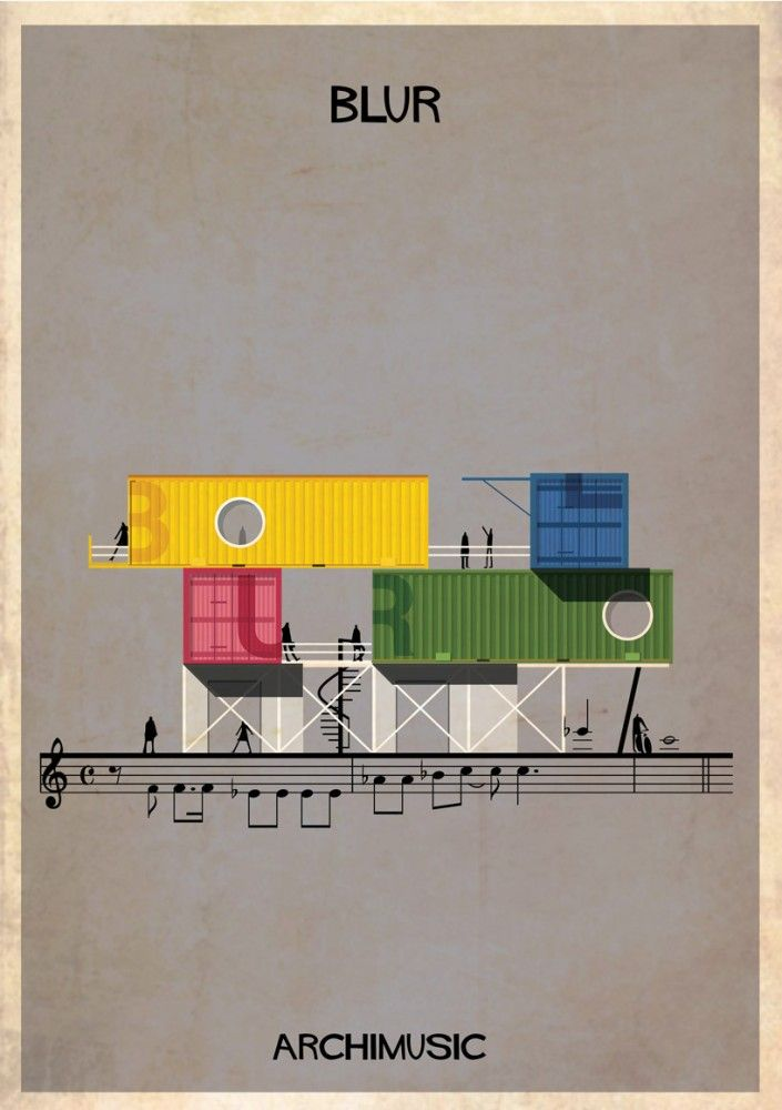 """ARCHIMUSIC: Illustrations Turn Music Into Architecture - Federico Babina / Blur, """"Song 2″"""