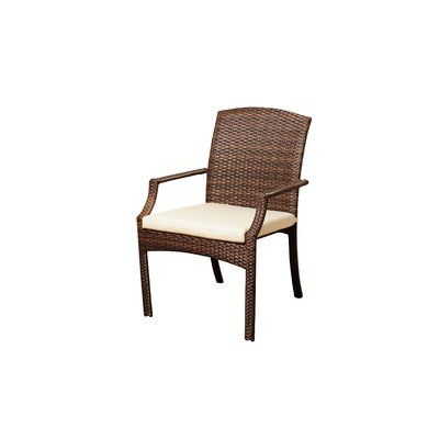 Beachcrest Home Elsmere 5 Piece Dining Set With Cushions Frame Color: Brown, Cushion Color: Off-White