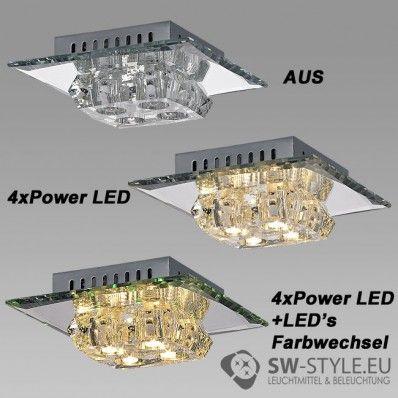 015-4C Deckenleuchte Wandleuchte inklusive POWER LED und LED Farbwechsel