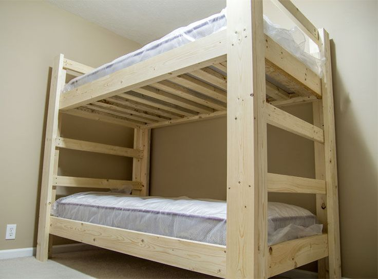 I've built a lot of these bunk beds in the past and recently built one for my own home. This is a super easy build as the materials are all common construction grade pine and every cut is a 90 degree cut so there are no complicated angles. The construction is with wood screws and pocket hole screws. Because all of the screws are installed from the inside there are no screw heads or carriage bolts showing on the outside. This gives the bunk bed a nice clean appearance. Both sides dou...