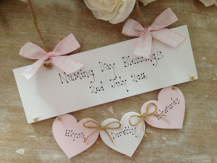 Personalised Naming Day Blessings Gift Naming Ceremony Wooden Keepsake Gift Sign