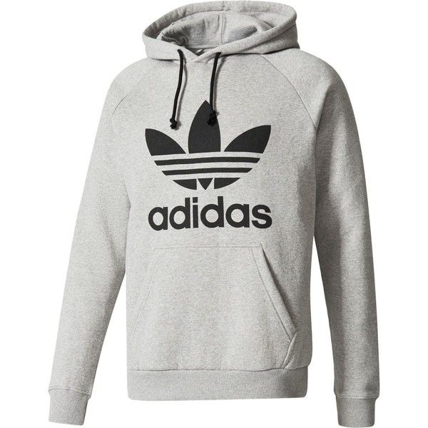 Adidas Trefoil Pullover Hoodie 65 Liked On Polyvore Featuring Men S Fashion Men S Clothing Men S Hoodies Mens Hooded Adidas Men Hoodies Grey Hoodie Men