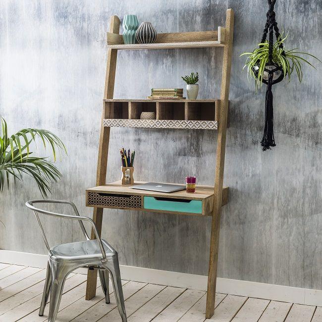 mango wood storage furniture ladder desk