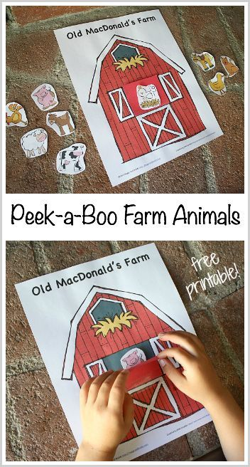 Peek-a-Boo Farm Animal Game for Toddlers and Preschoolers (FREE Printable)- Fun activity for a rainy day or to go with Old MacDonald had a Farm! ~ BuggyandBuddy.com