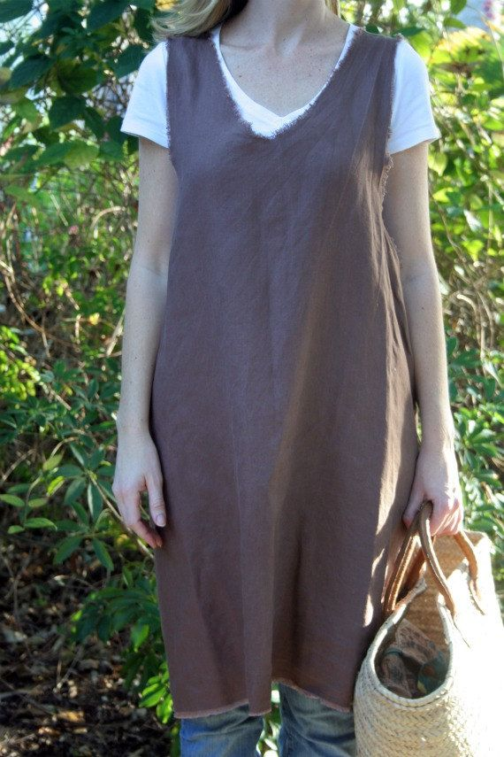 Brown Linen Pinafore Style Apron with Frayed Edges by RetroHome
