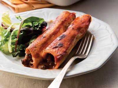 Creamy Black Bean, Mushroom, and Zucchini Enchiladas | Cookstr.com